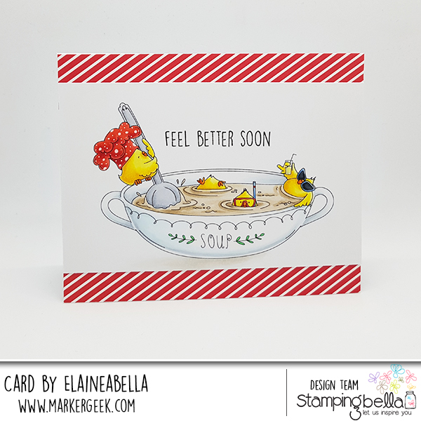 www.stampingbella.com: rubber stamp used: CHICK-en soup, card by Elaine Hughes