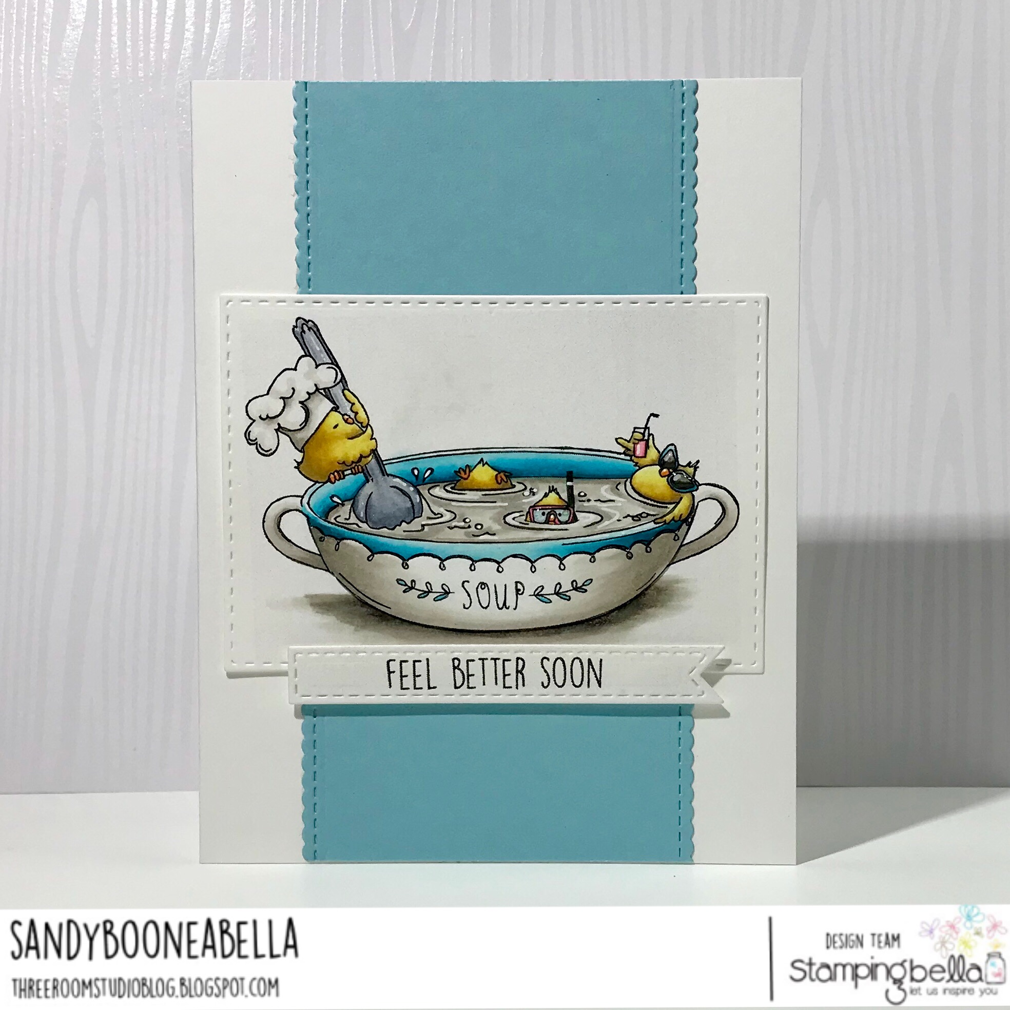 www.stampingbella.com: rubber stamp used: CHICK-en soup, card by Sandy Boone