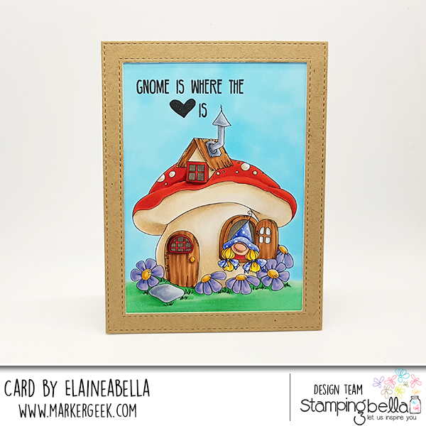 www.stampingbella.com: Rubber stamp: GNOME HOME card by Elaine Hughes