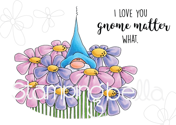 www.stampingbella.com: Rubber stamp: GNOME BOUQUET