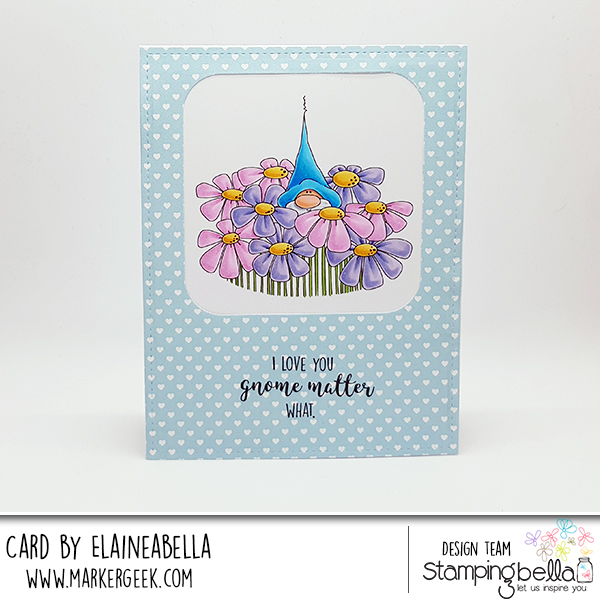 www.stampingbella.com: Rubber stamp: GNOME BOUQUET, card made by Elaine Hughes