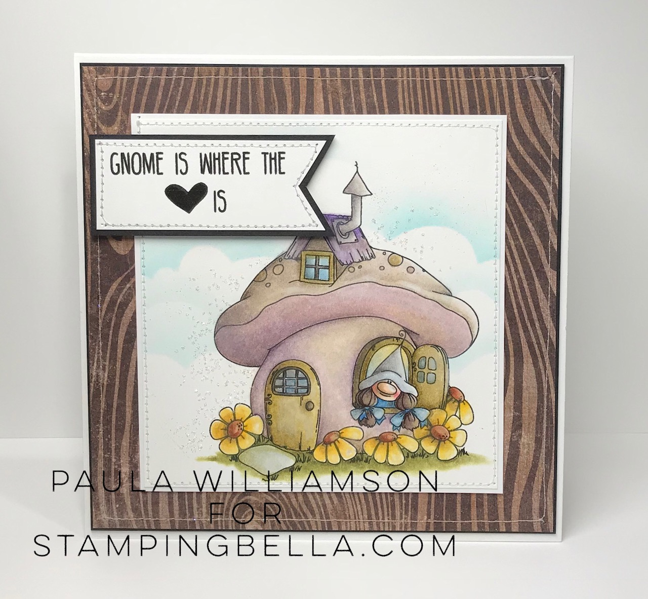 www.stampingbella.com: Rubber stamp: GNOME HOME card by Paula Williamson