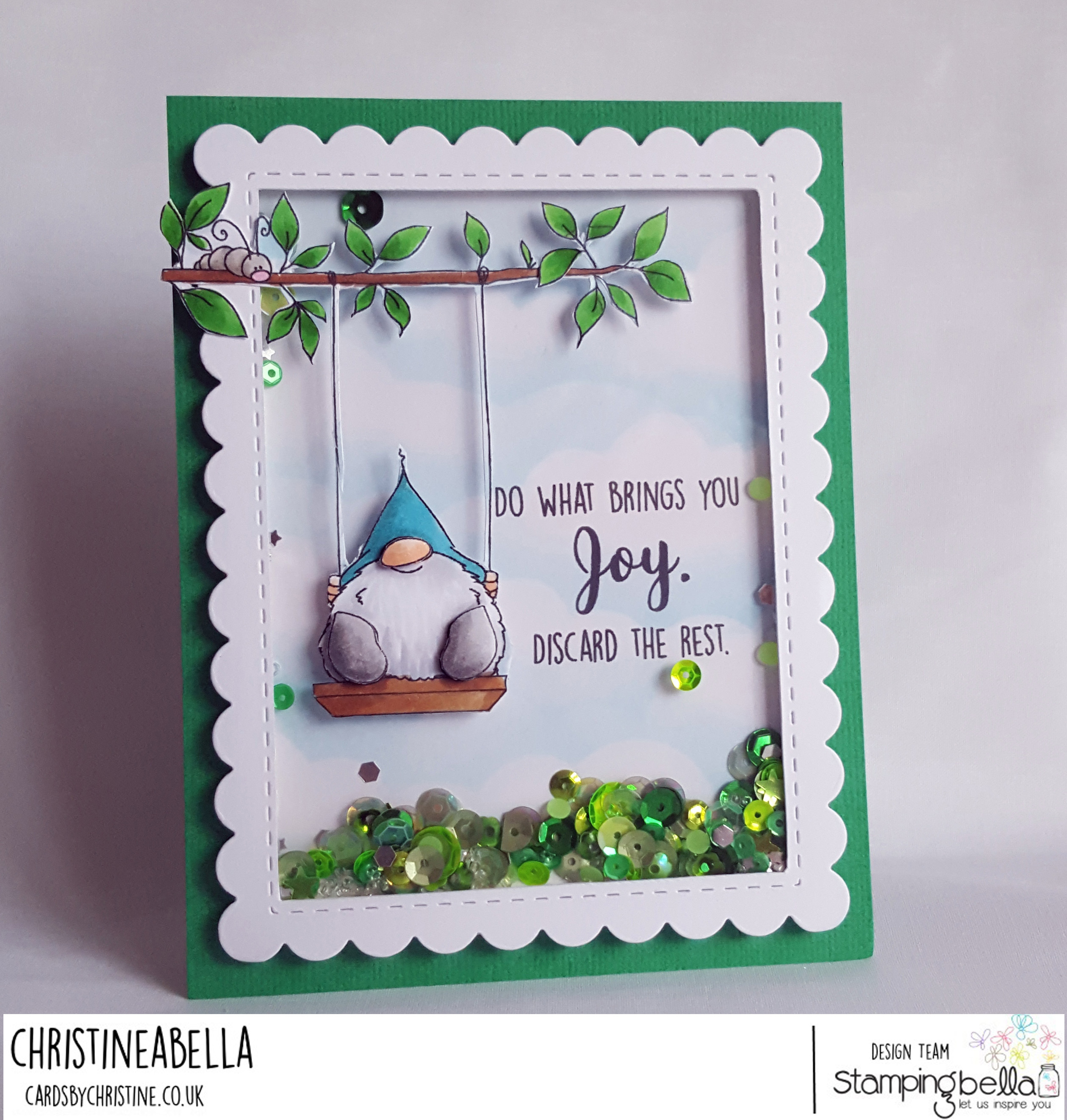 www.stampingbella.com: Rubber stamp: Gnome on a SWING card by CHRISTINE Levison
