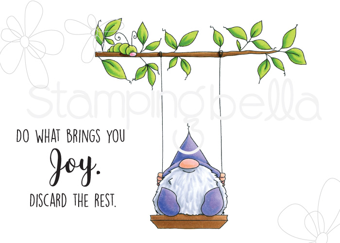 www.stampingbella.com: Rubber stamp: Gnome on a SWING