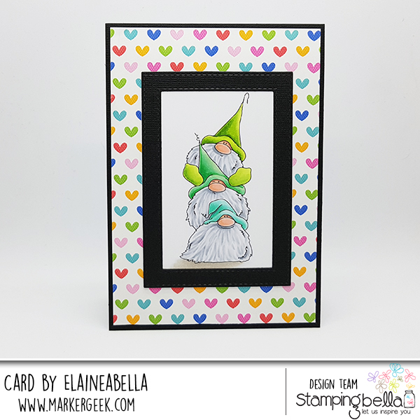 www.stampingbella.com: Rubber stamp: Gnome PILE card by Elaine Hughes