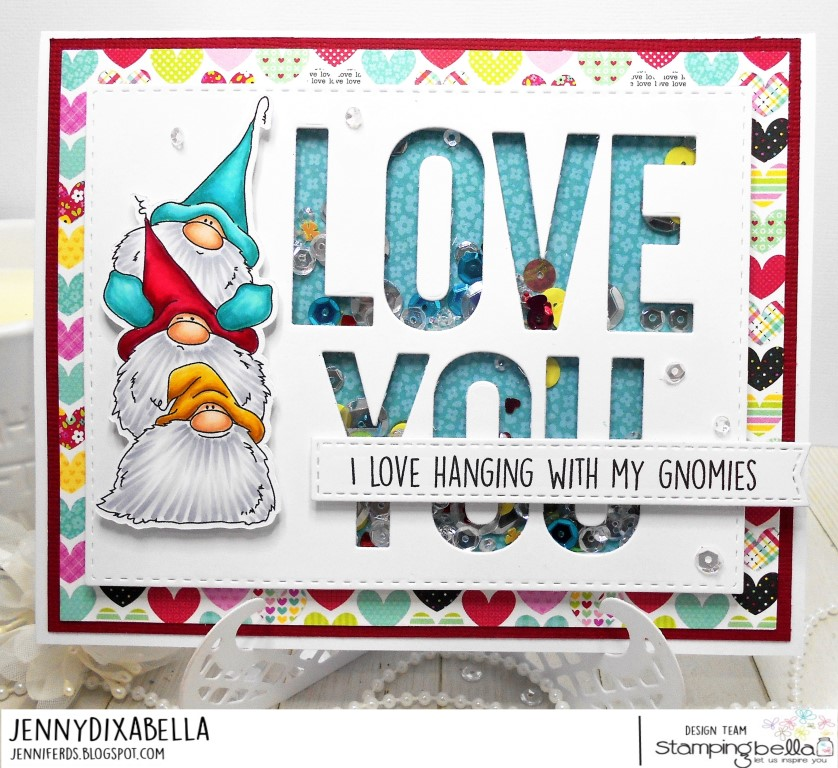 www.stampingbella.com: Rubber stamp: Gnome PILE card by Jenny Dix