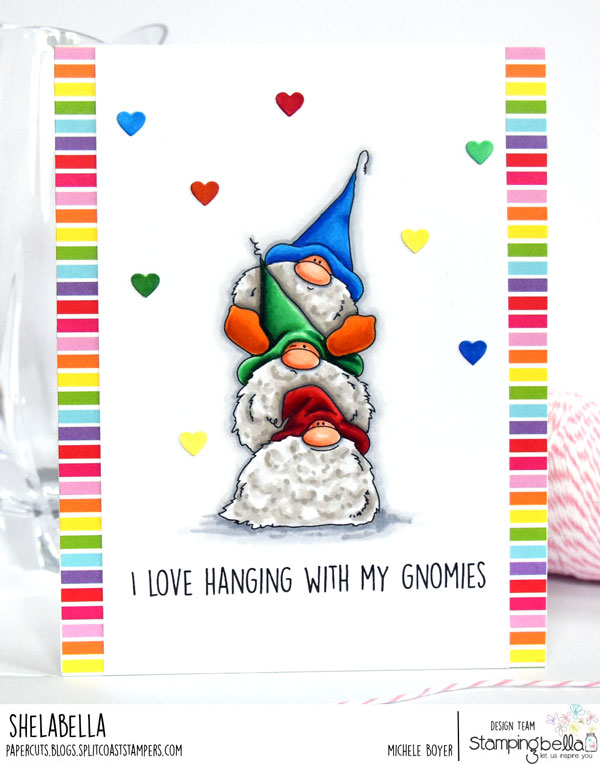 www.stampingbella.com: Rubber stamp: Gnome PILE card by Michele Boyer