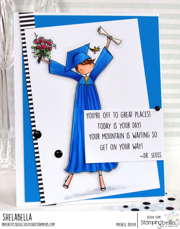 www.stampingbella.com: rubber stamp used: UPTOWN GIRL GRACE the GRADUATE, card by Michele Boyer