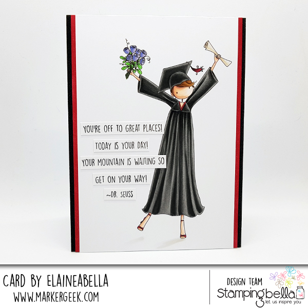 www.stampingbella.com: rubber stamp used: UPTOWN GIRL GRACE the GRADUATE, card by Elaine Hughes