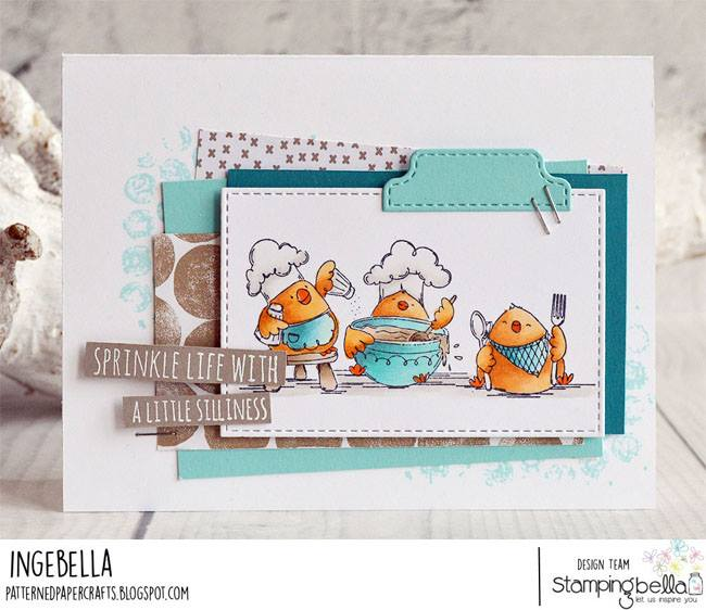 www.stampingbella.com: Rubber stamp used: IRON CHEF CHICKS, card by Inge Groot