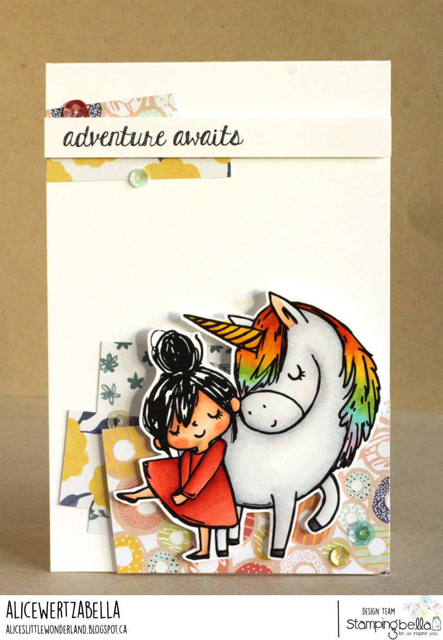 www.stampingbella.com: Rubber stamps used: Meet Rosie and Bernie, Adventure sentiment set card by Alice Wertz