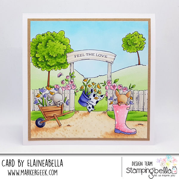www.stampingbella.com: rubber stamp used: Rubber stamps used: MINI FRENCHIE set, SUMMER BACKDROP, and Garden Backdrop, card by Elaine Hughes