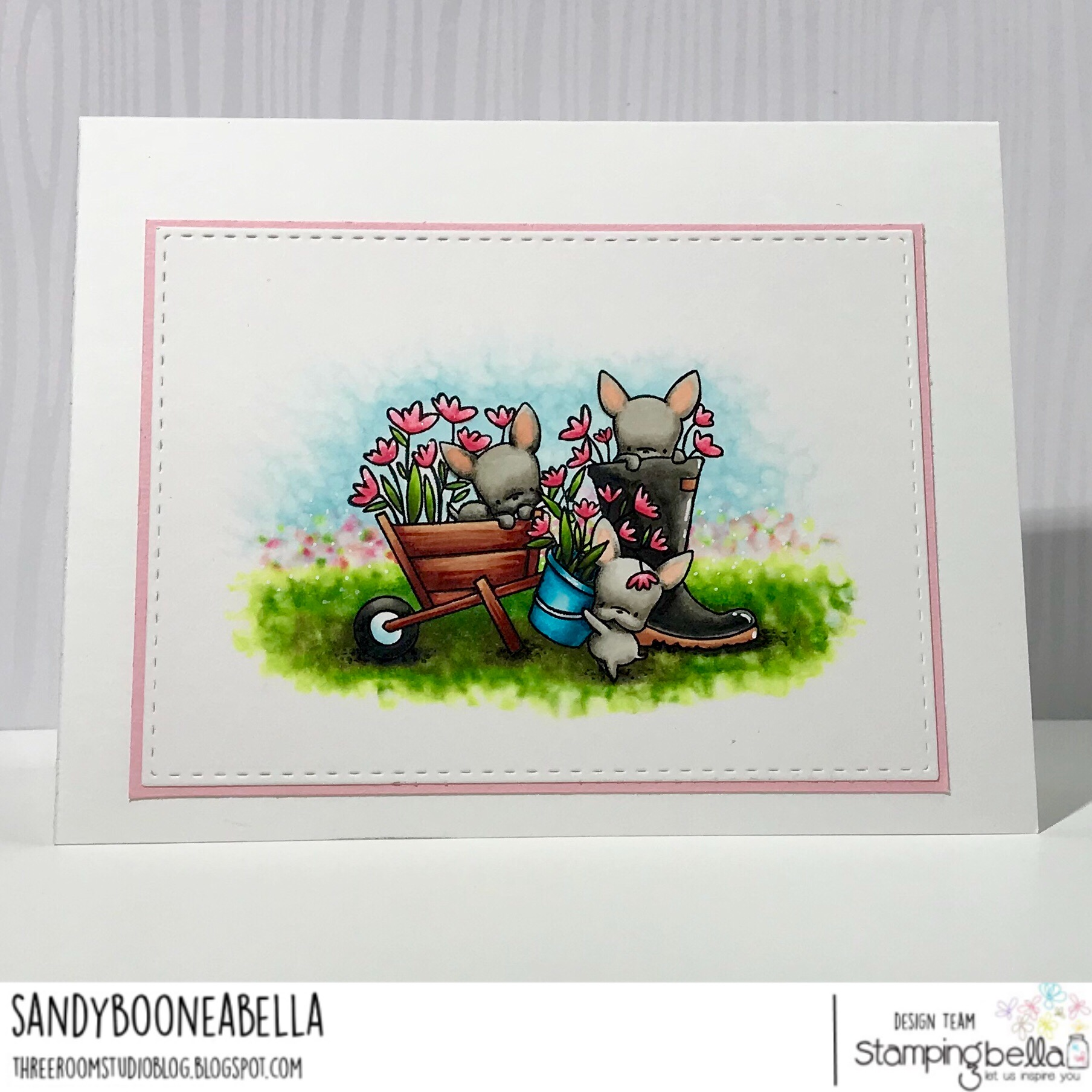 www.stampingbella.com: rubber stamp used: MINI FRENCHIE SET, card by Sandy Boone
