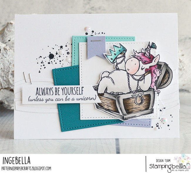 www.stampingbella.com: Rubber stamp used Rosie and Bernie UNDER THE SEA, Under the sea Backdrop, scribble and spill set and our Unicorn Sentiment set. Card by Inge Groot
