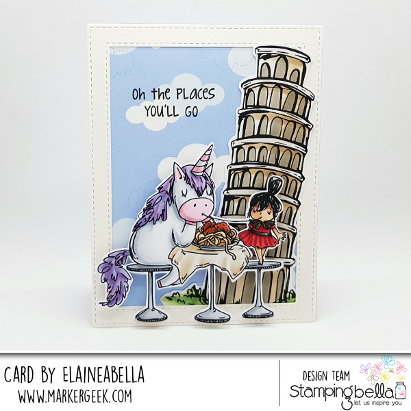 www.stampingbella.com: Rubber stamp used ROSIE AND BERNIE in ITALY, Adventure Sentiment set, Rosie and Bernie's Leaning Tower of Pisa Card by Elaine Hughes