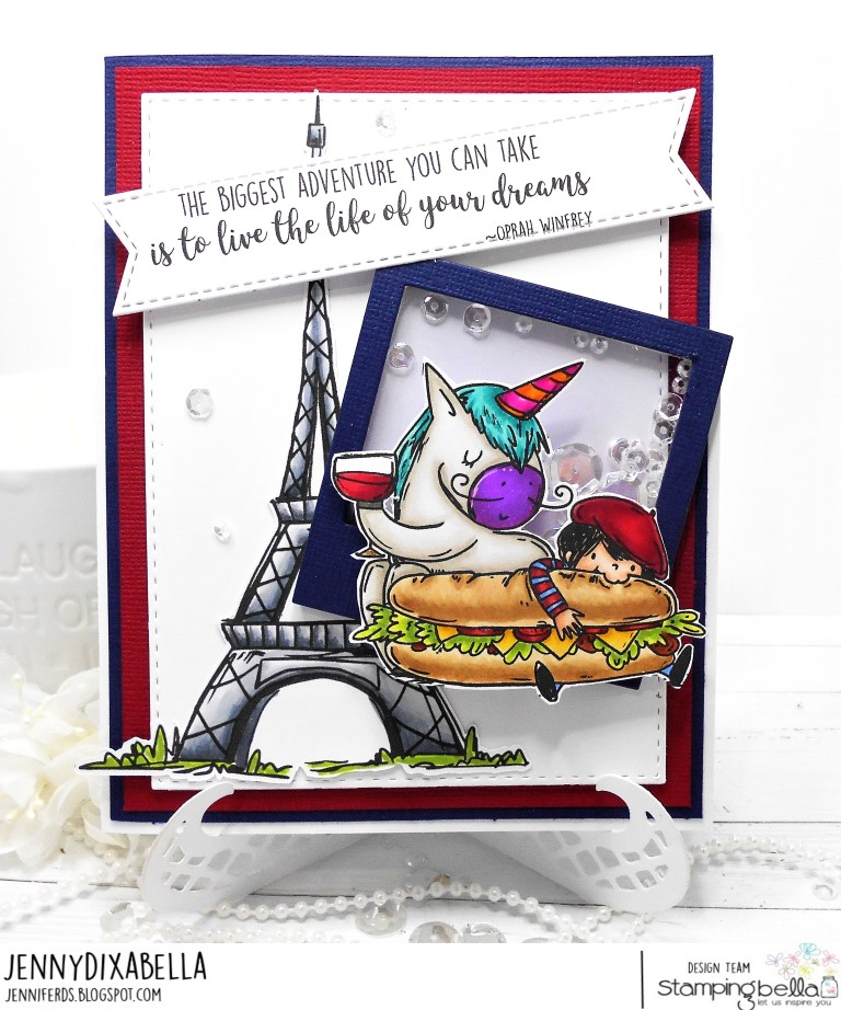 www.stampingbella.com: Rubber stamp used Rosie and Bernie in Paris, Rosie and Bernie's Eiffel Tower , Adventure Sentiment set. Card by Jenny Dix