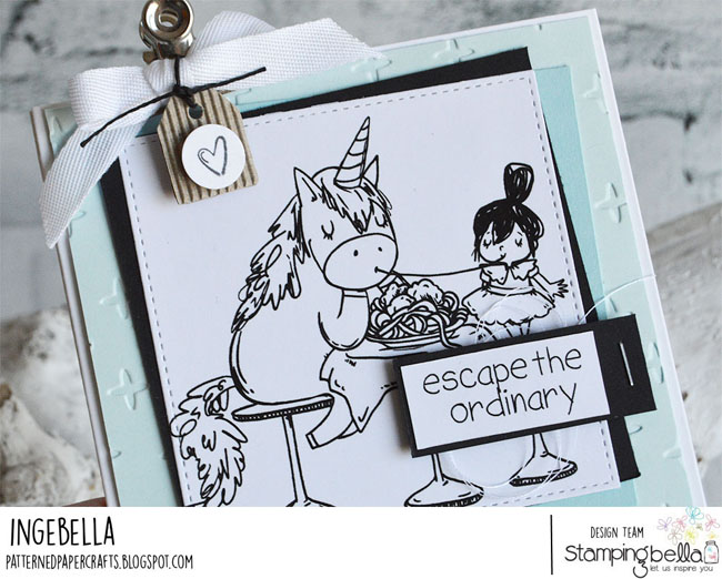 www.stampingbella.com: Rubber stamp used ROSIE AND BERNIE in ITALY, Adventure Sentiment set. Card by Inge Groot