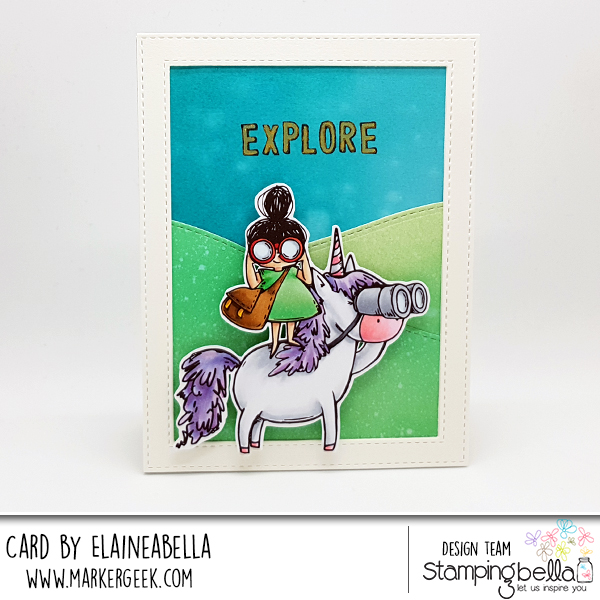 www.stampingbella.com: Rubber stamp used Rosie and Bernie LOVE TO EXPLORE and our Adventure Sentiment set. Card by Elaine Hughes