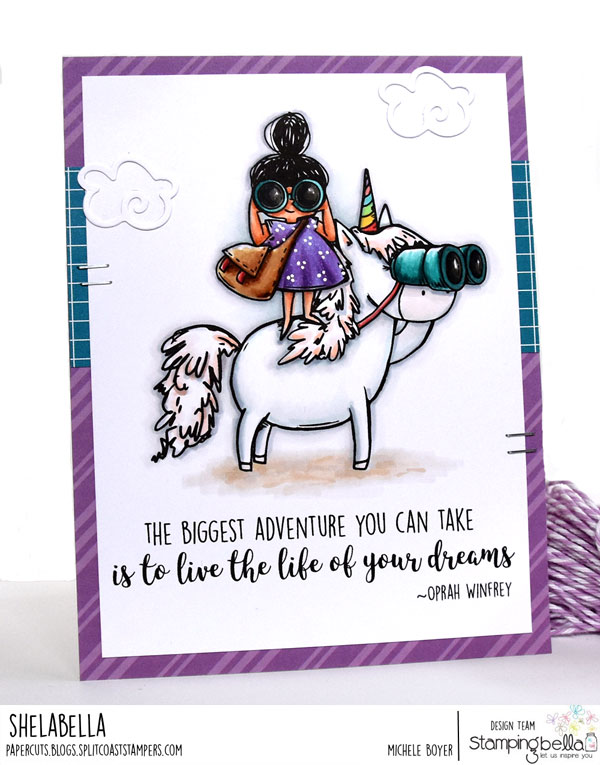 www.stampingbella.com: Rubber stamp used Rosie and Bernie LOVE TO EXPLORE and our Adventure Sentiment set. Card by Jenny Dix