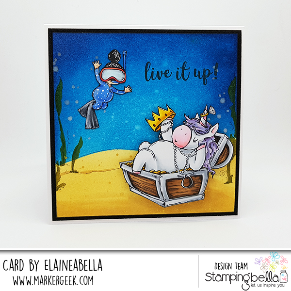 www.stampingbella.com: Rubber stamp used Rosie and Bernie UNDER THE SEA, Birthday sentiment set, Under the sea backdrop. Card By Elaine Hughes