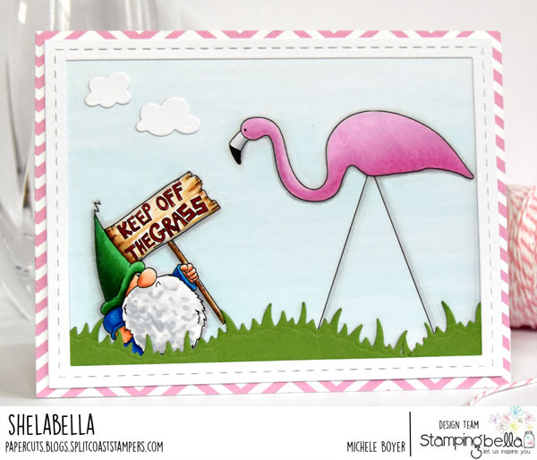 www.stampingbella.com: Rubber stamp: Turf War card by Michele Boyer