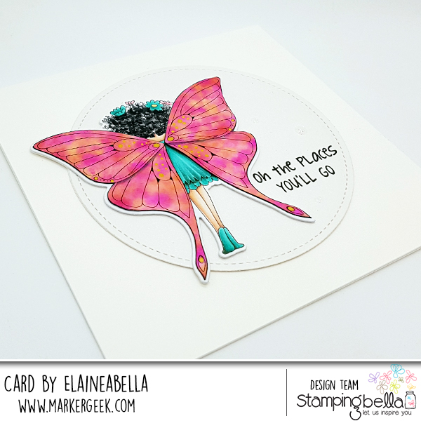 Stamp It Saturday: Butterfly Girl Babette Alcohol Ink Butterfly Wings with Video by Elaineabella aka Marker Geek