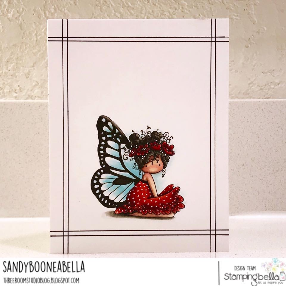 www.stampingbella.com: Rubber stamp usedL TINY TOWNIE BUTTERFLY GIRL BESS, card made by SANDY BOONE