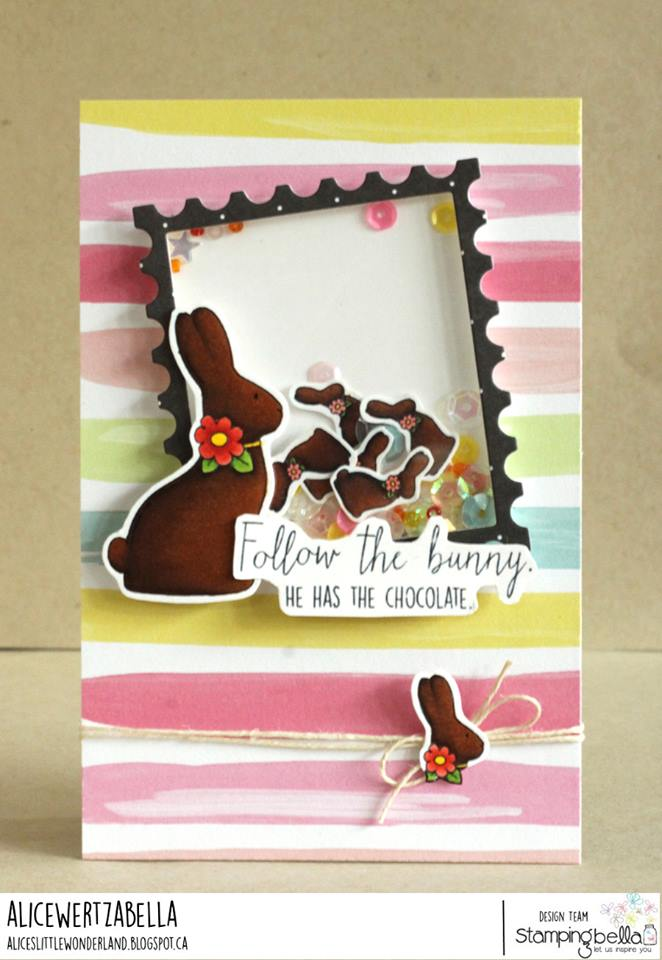 www.stampingbella.com : RUBBER STAMP USED:  CHOCOLATE BUNNIES card by ALICE WERTZ