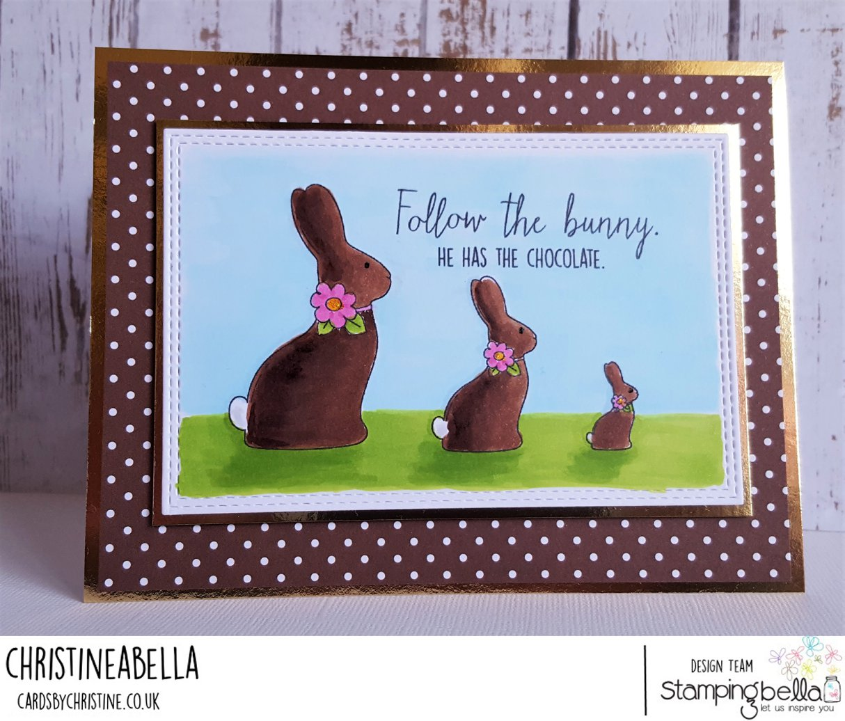 www.stampingbella.com : RUBBER STAMP USED:  CHOCOLATE BUNNIES card by Christine Levison