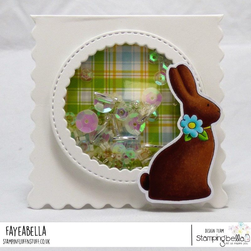 www.stampingbella.com : RUBBER STAMP USED:  CHOCOLATE BUNNIES card by Faye Wynn Jones