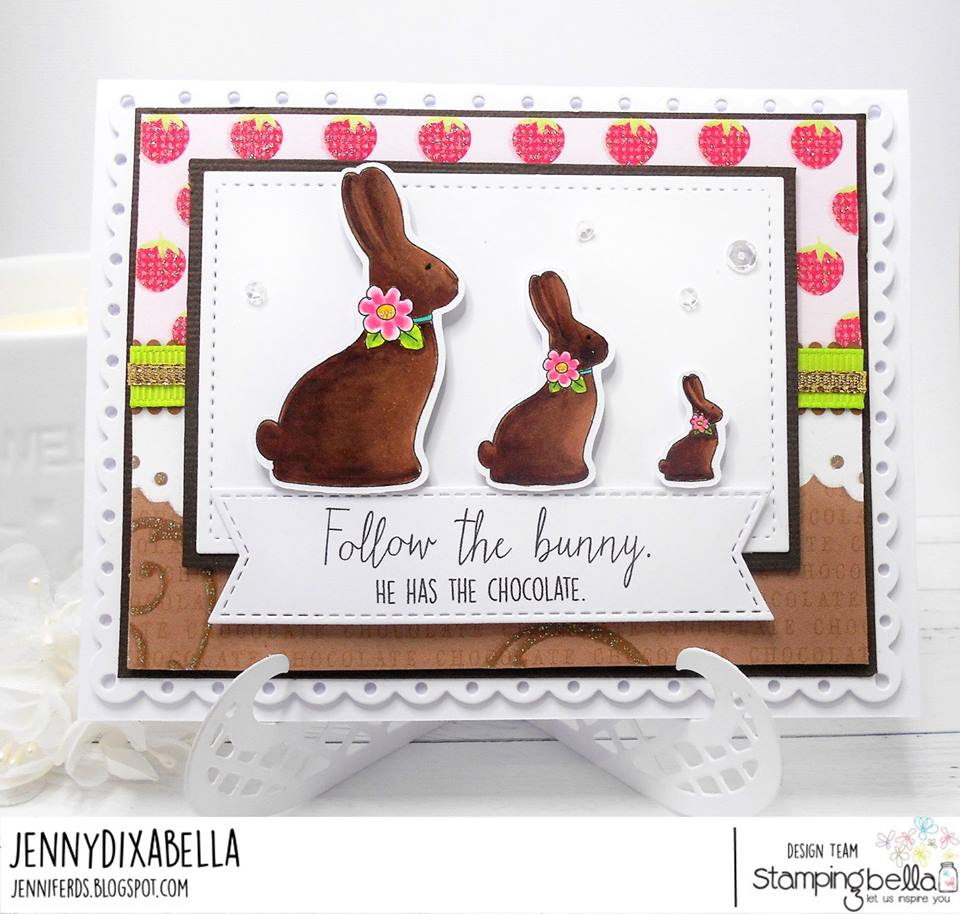www.stampingbella.com : RUBBER STAMP USED:  CHOCOLATE BUNNIES card by Jenny Dix