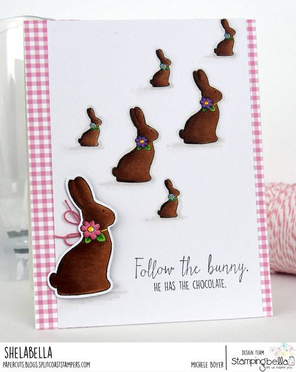 www.stampingbella.com : RUBBER STAMP USED:  CHOCOLATE BUNNIES card by Michele Boyer