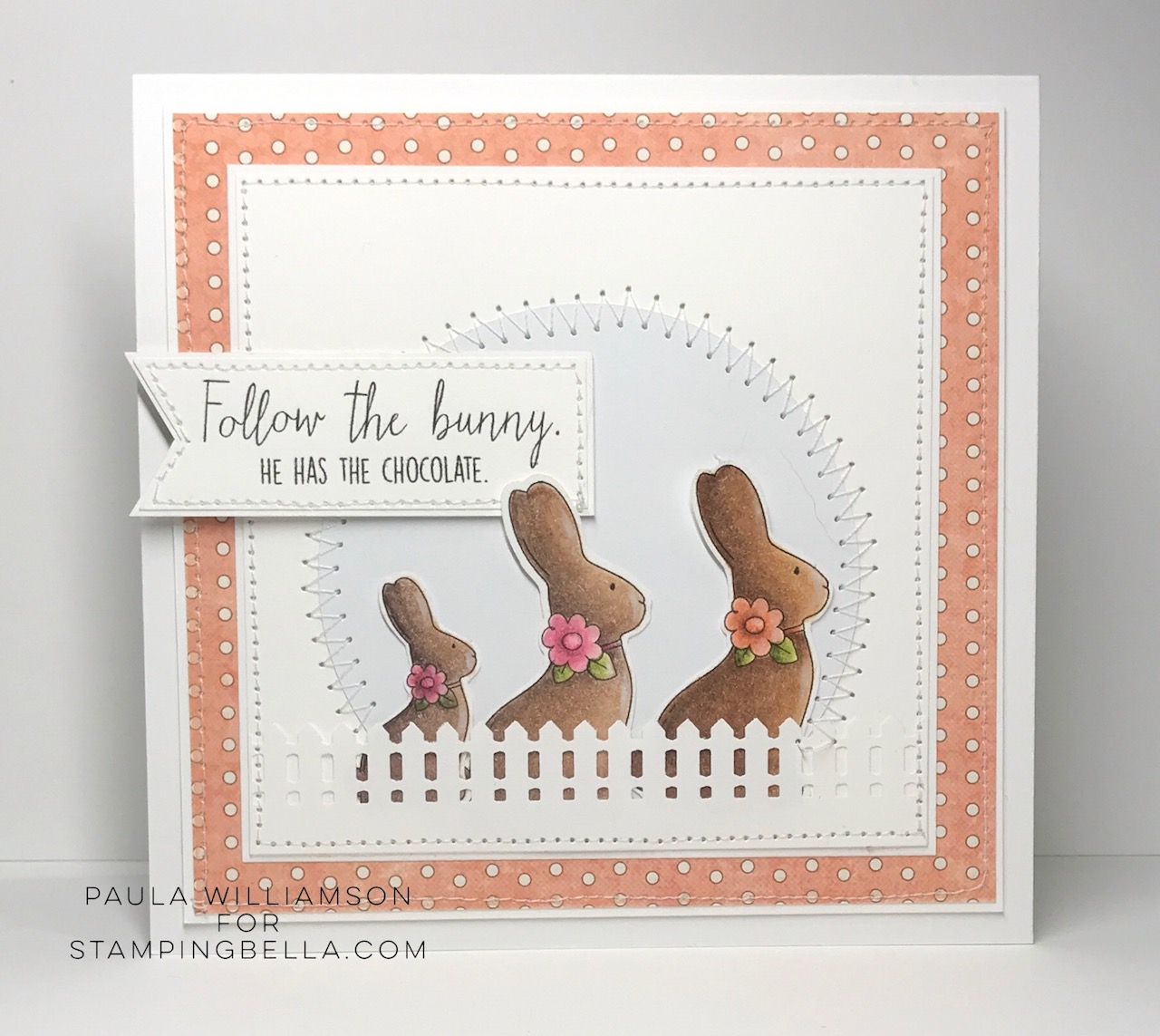 www.stampingbella.com : RUBBER STAMP USED:  CHOCOLATE BUNNIES card by Paula Williamson