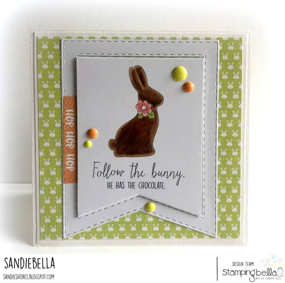 www.stampingbella.com : RUBBER STAMP USED:  CHOCOLATE BUNNIES card by Sandie Dunne