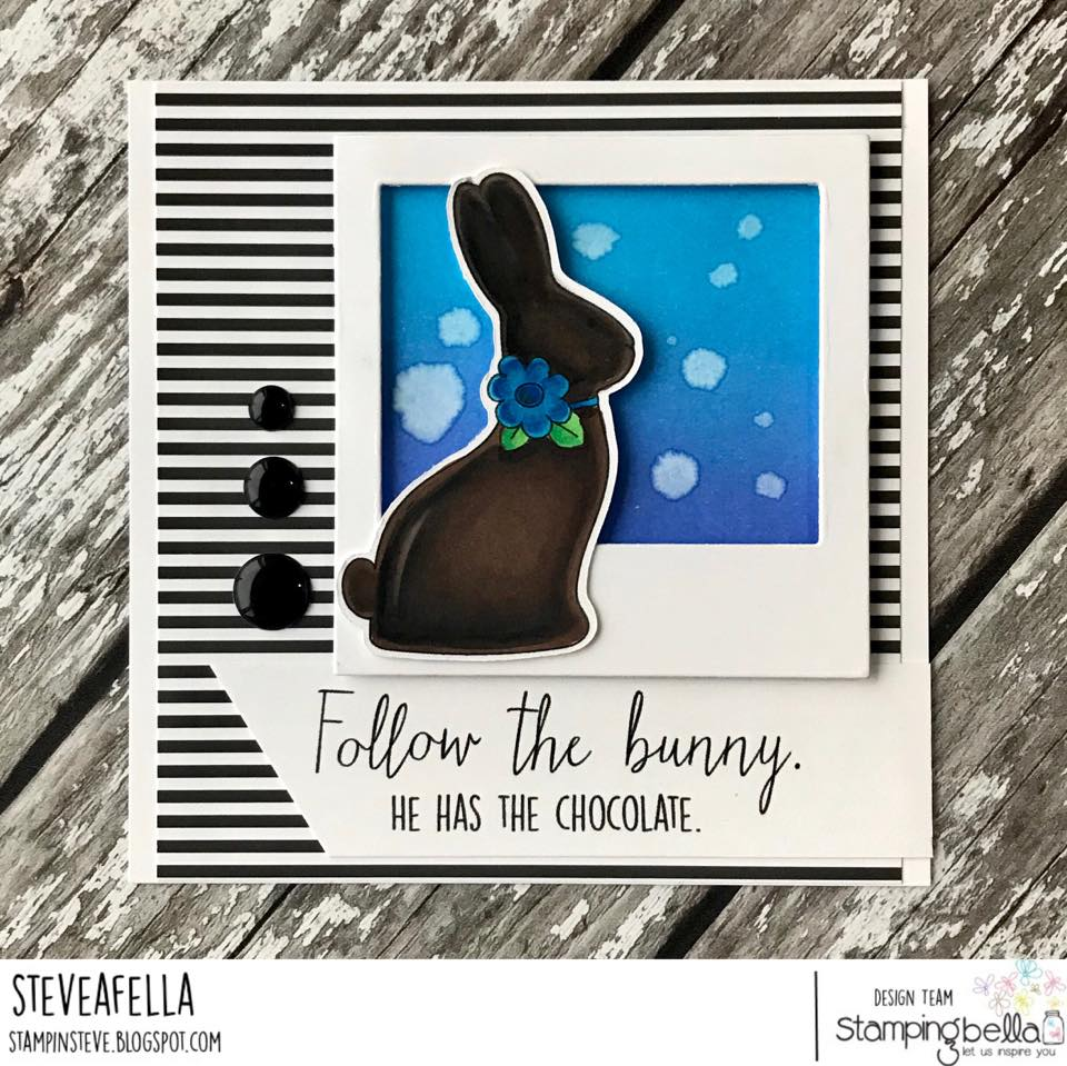 www.stampingbella.com : RUBBER STAMP USED:  CHOCOLATE BUNNIES card by Stephen Kropf