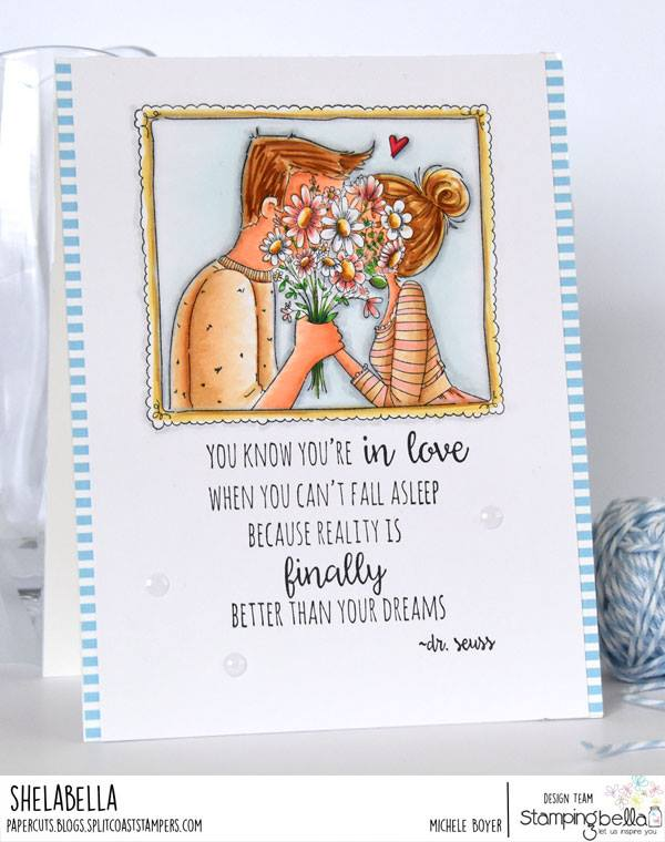 www.stampingbella.com: RUBBER STAMP USED CLOSEUPS IN LOVE card by Michele Boyer