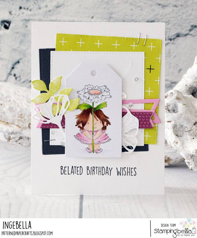 www.stampingbella.com: rubber stamp used:DAISY SQUIDGY and BIRTHDAY SENTIMENT SET card by INGE GROOT