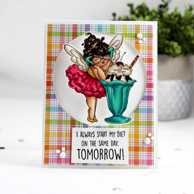 "www.stampingbella.com: rubber stamp and ""cut it out"" die used: EDNA loves ICE CREAM  card by Stephanie Beauchemin"
