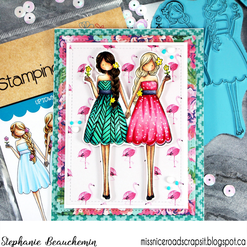 "www.stampingbella.com: rubber stamp and ""CUT IT OUT"" DIE used:  Uptown ZODIAC GIRL GEMINI, card by Stephanie Beauchemin"