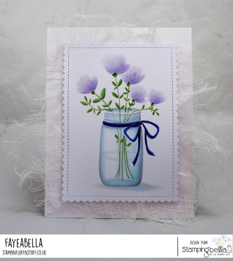 www.stampingbella.com: RUBBER STAMP USED MASON JAR OF FLOWERS card by FAYE WYNN Jones
