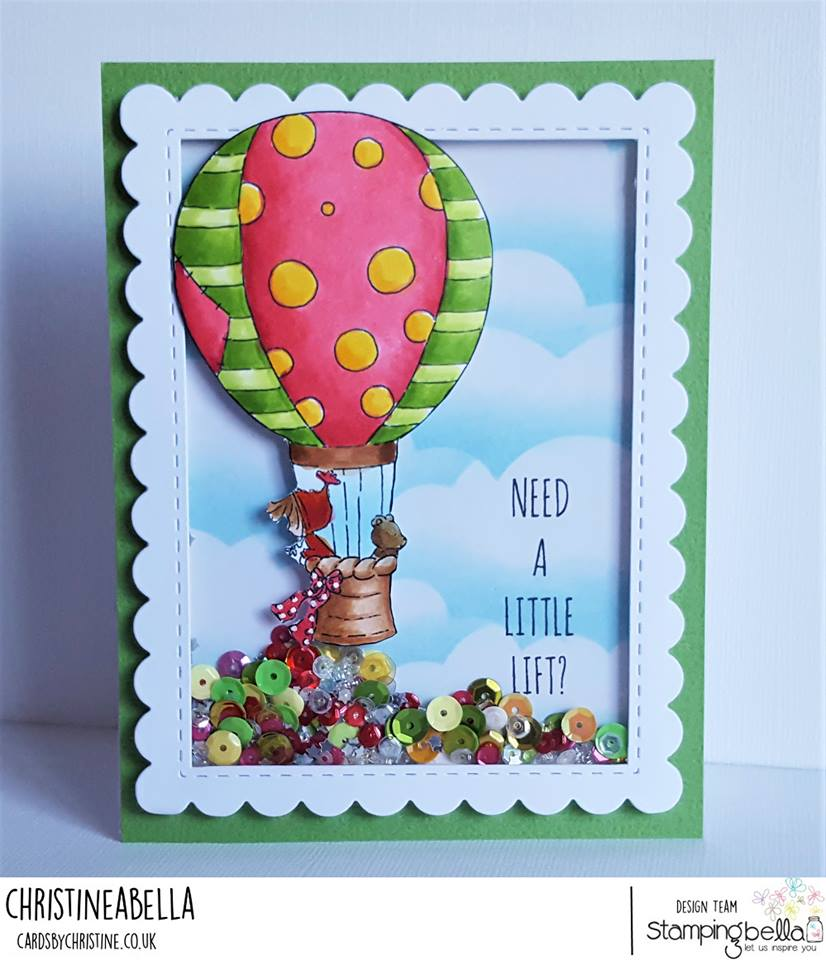 www.stampingbella.com: RUBBER STAMP USED RAMONA AND TEDDY in a balloon card by CHRISTINE LEVISON