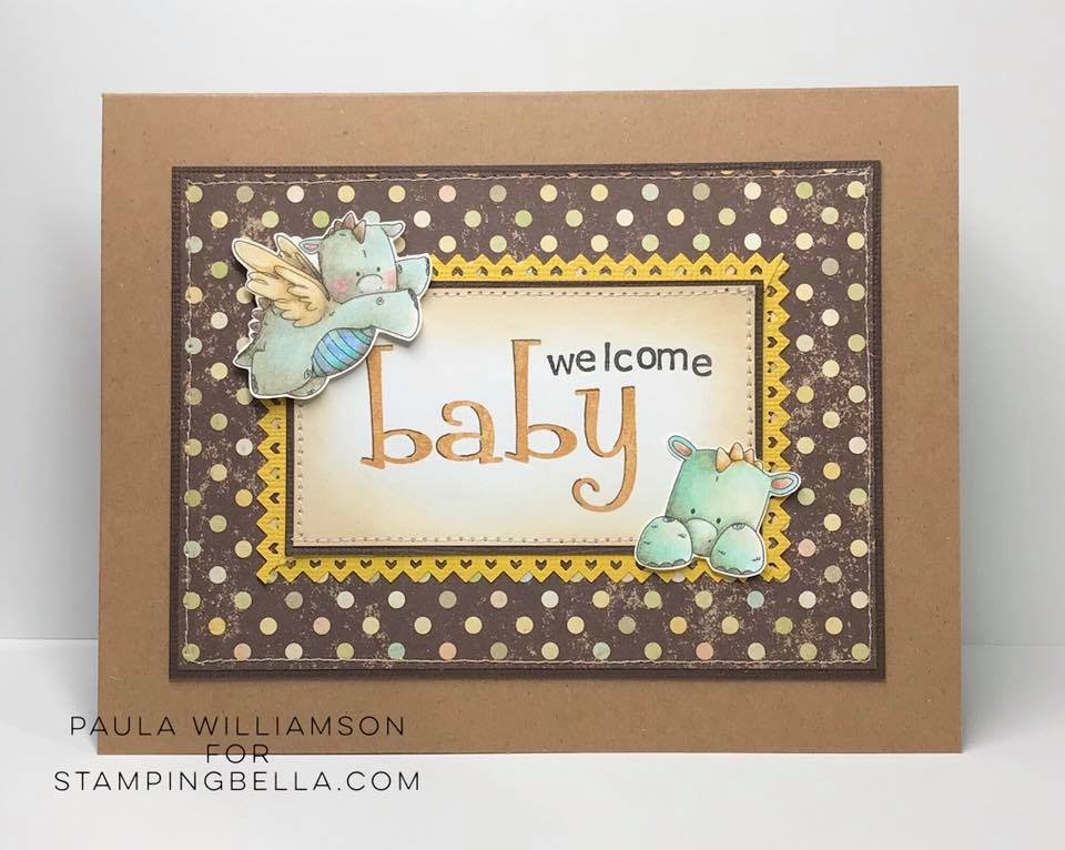 www.stampingbella.com: RUBBER STAMP USED SET OF DRAGONS card by PAULA WILLIAMSON