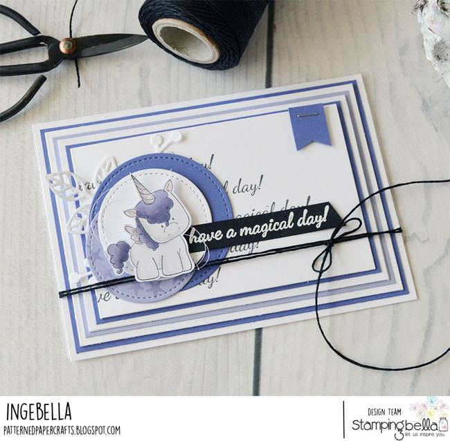 www.stampingbella.com: RUBBER STAMP USED SET OF UNICORNS card by INGE GROOT