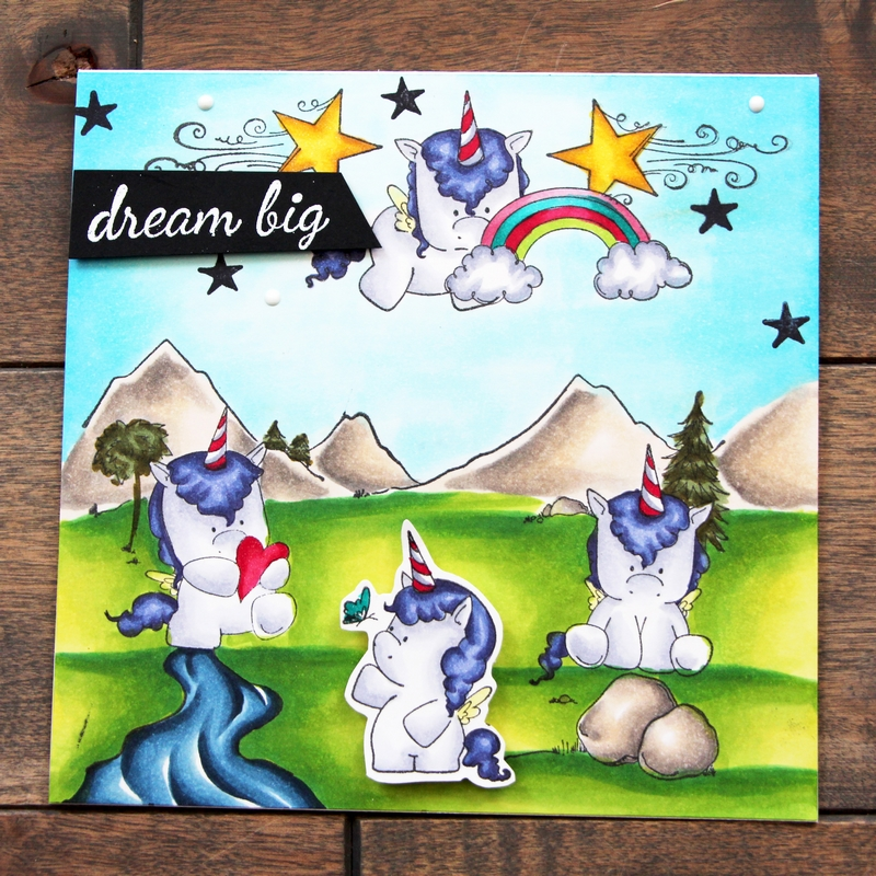 www.stampingbella.com:  Rubber stamps used: Set of Unicorns, Cave Kids BACKDROP, Unicorn Add ons and Unicorn sentiment set.  Card made by Stephanie Beauchemin