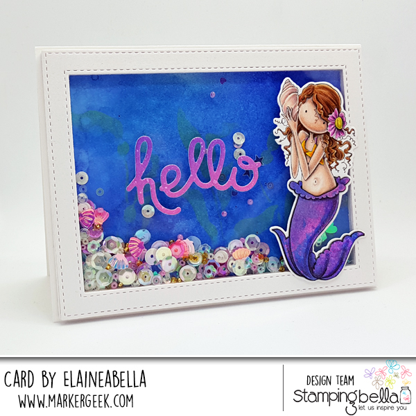 Stamping Bella & Marker Geek: Mermaid Shaker Card with Distress Oxides & Polychromos (video)