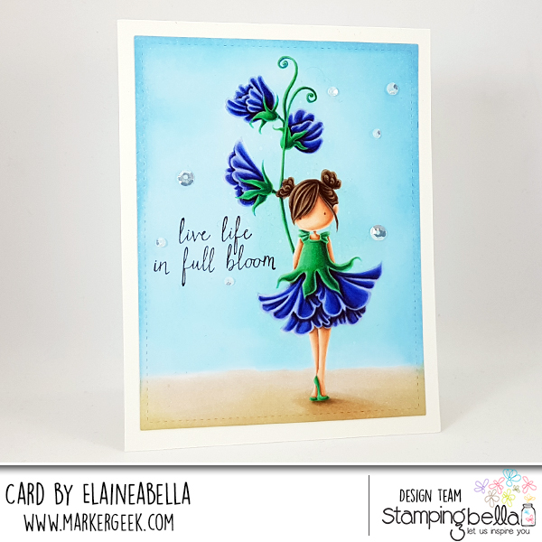 Stamping Bella Marker Geek Monday - No Line Colouring Tiny Townie Garden Girl Sweet Pea