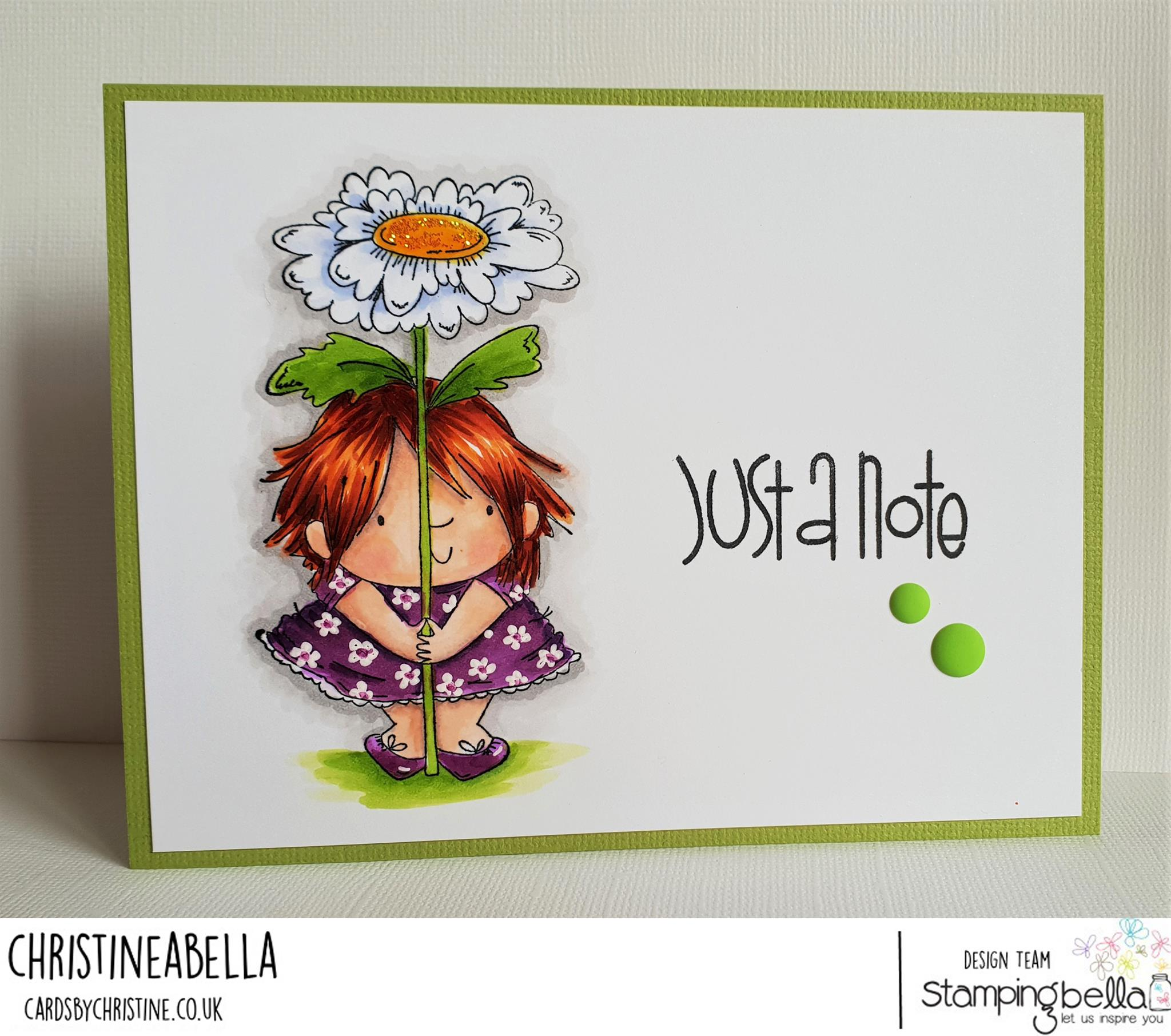 www.stampingbella.com: rubber stamp used: DAISY SQUIDGY, card made by Christine Levison