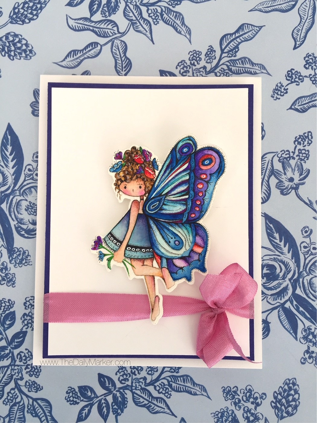 www.stampingbella.com: rubber stamp used: Tiny Townie Butterfly Girl BRIANNA card by Kathy Racoosin