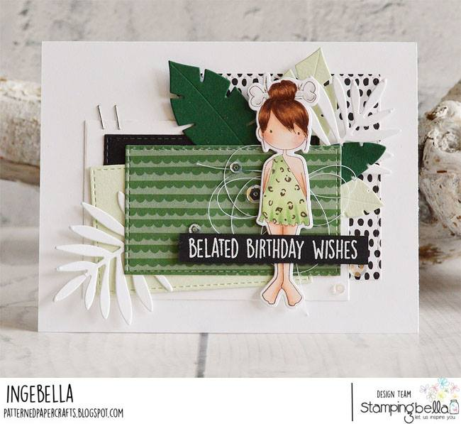 www.stampingbella.com:  rubber stamp used CAVE KIDS card by INGE GROOT
