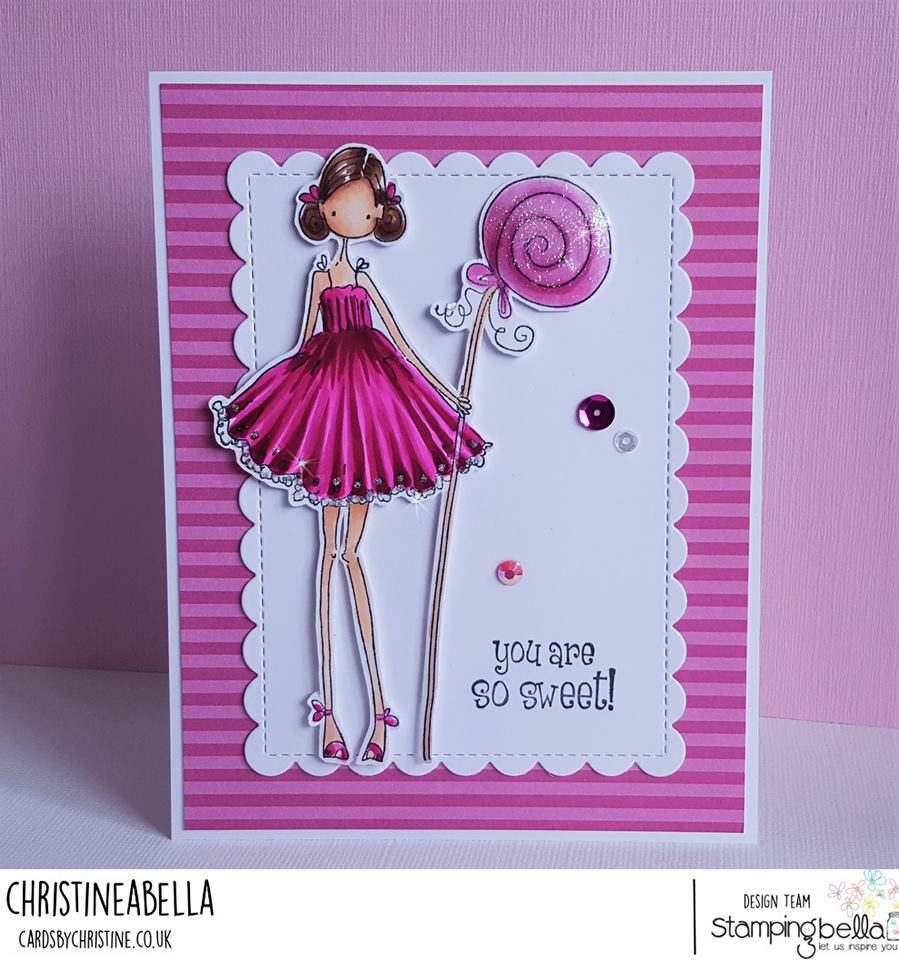 www.stampingbella.com:  rubber stamp used UPTOWN GIRL CLAUDIA LOVES CANDY card by Christine Levison
